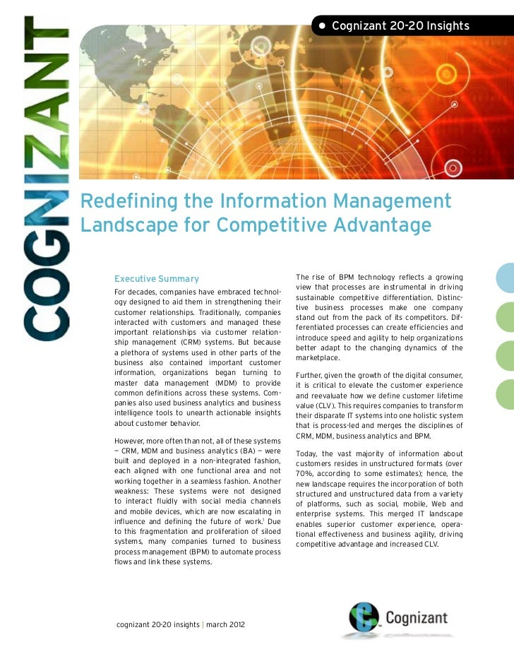 • Cognizant 20-20 InsightsRedefining the Information ManagementLandscape for Competitive Advantage   Executive Summary    ...