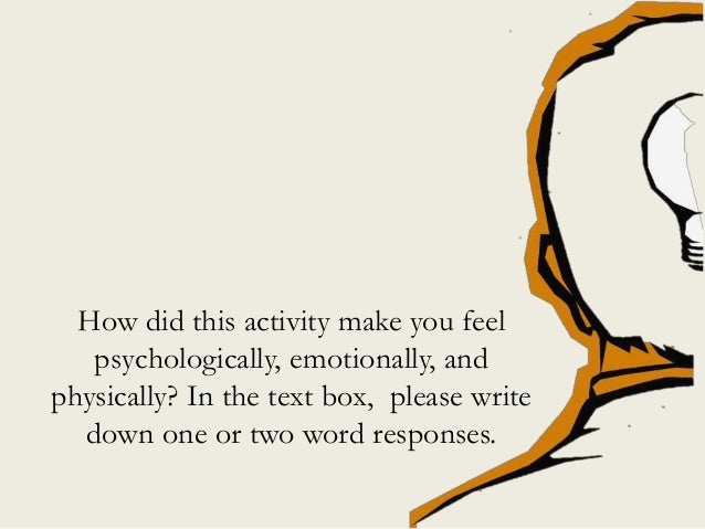 How did this activity make you feel psychologically, emotionally, and physically? In the text box, please write down one o...