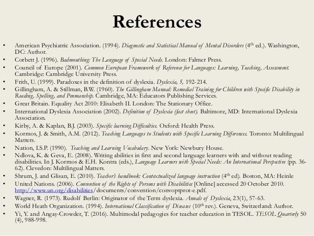 References • American Psychiatric Association. (1994). Diagnostic and Statistical Manual of Mental Disorders (4th ed.). Wa...