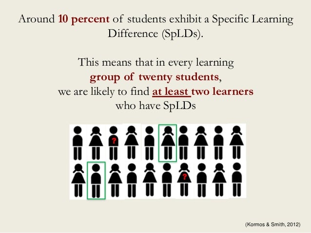 Around 10 percent of students exhibit a Specific Learning Difference (SpLDs). This means that in every learning group of t...