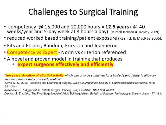 Challenges to Surgical Training • competency @ 15,000 and 20,000 hours = 12.5 years ( @ 40 weeks/year and 5-day week at 8 ...