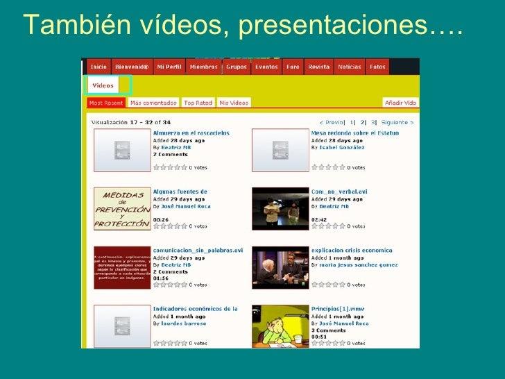 También vídeos, presentaciones….