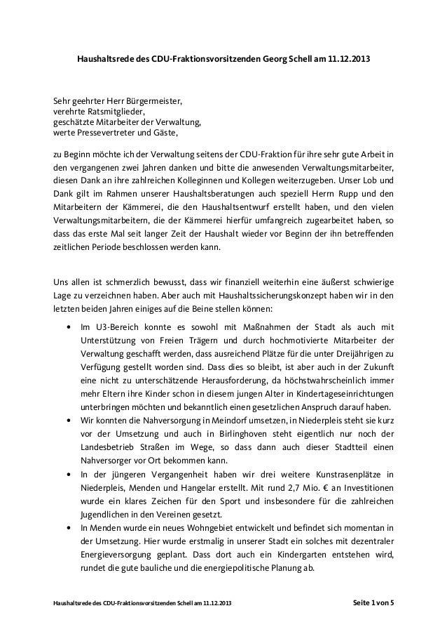 Haushaltsrede des CDU-Fraktionsvorsitzenden Georg Schell am 11.12.2013  Sehr geehrter Herr Bürgermeister, verehrte Ratsmit...