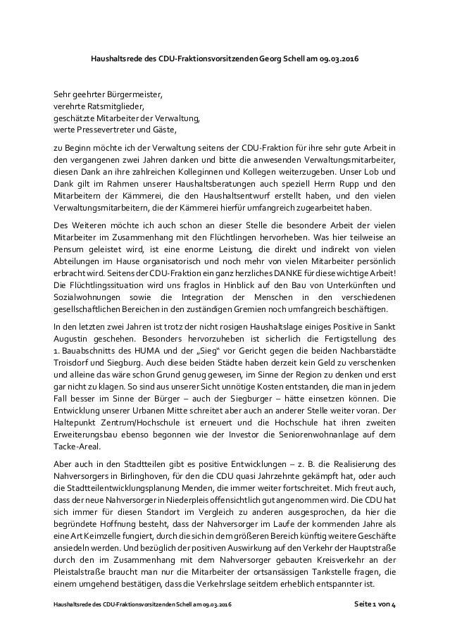 Haushaltsrede des CDU-Fraktionsvorsitzenden Schell am 09.03.2016 Seite 1 von 4 Haushaltsrede des CDU-Fraktionsvorsitzenden...
