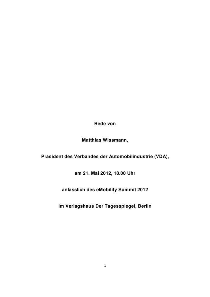 Rede von                Matthias Wissmann,Präsident des Verbandes der Automobilindustrie (VDA),             am 21. Mai 201...