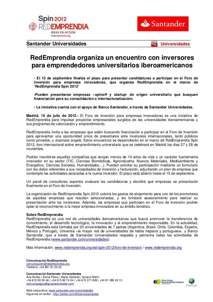 Santander Universidades                                                           Universidades   RedEmprendia organiza un...