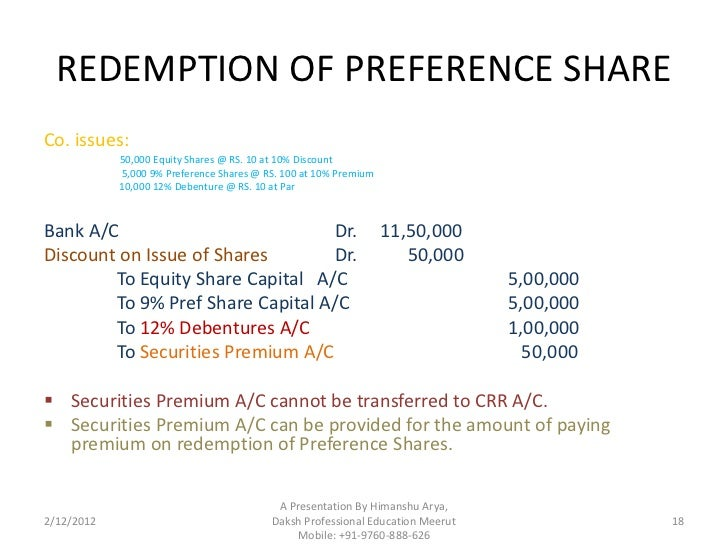 Journal Entries of Redemption of Preference Shares