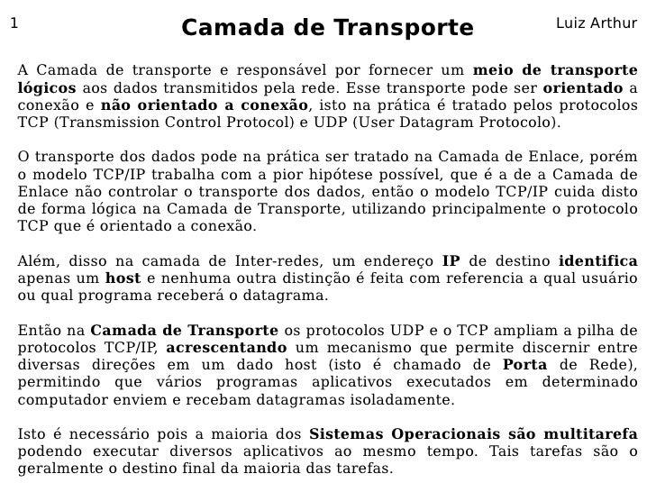 1                     Camada de Transporte                           Luiz Arthur   A Camada de transporte e responsável po...