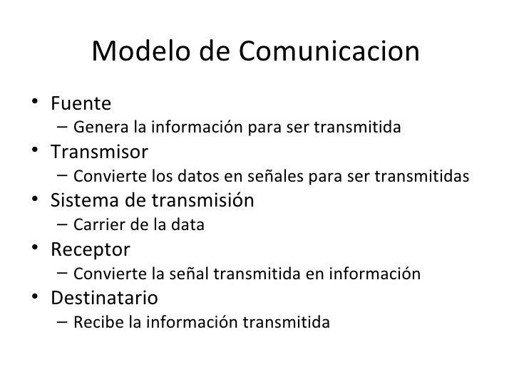Modelo de Comunicacion  <ul><li>Fuente </li></ul><ul><ul><li>Genera la información para ser transmitida </li></ul></ul><ul...