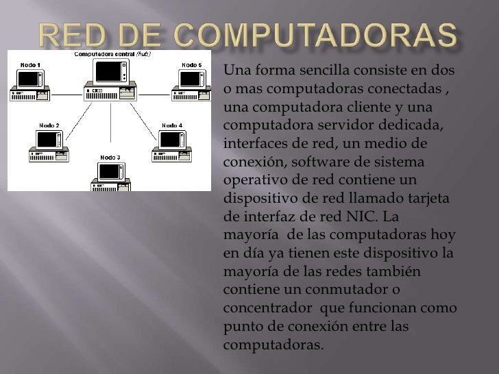 Red de computadoras<br />Una forma sencilla consiste en dos o mas computadoras conectadas , una computadora cliente y una ...
