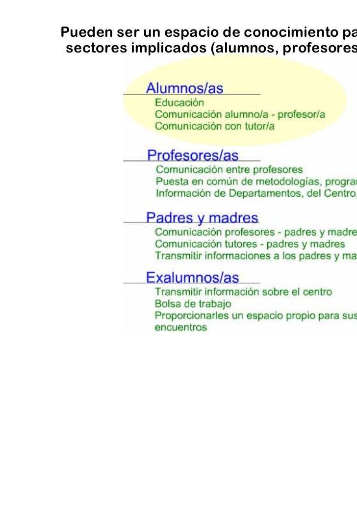 Pueden ser un espacio de conocimiento para todos los sectores implicados (alumnos, profesores, padres…)