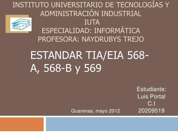 INSTITUTO UNIVERSITARIO DE TECNOLOGÍAS Y        ADMINISTRACIÓN INDUSTRIAL                   IUTA        ESPECIALIDAD: INFO...
