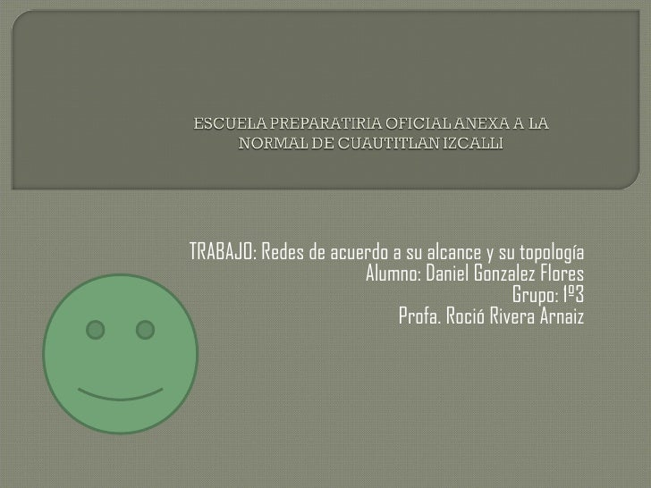 TRABAJO: Redes de acuerdo a su alcance y su topología                      Alumno: Daniel Gonzalez Flores                 ...