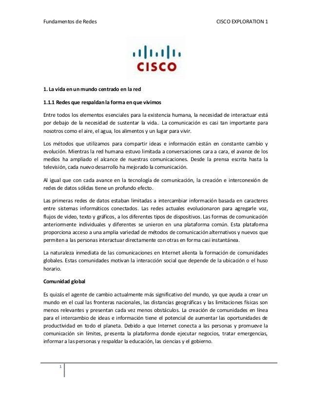 Fundamentos de Redes                                                         CISCO EXPLORATION 11. La vida en un mundo cen...