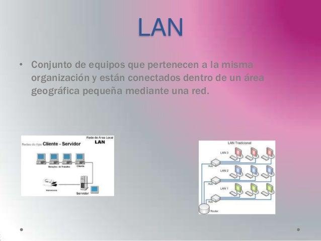 LAN• Conjunto de equipos que pertenecen a la misma  organización y están conectados dentro de un área  geográfica pequeña ...
