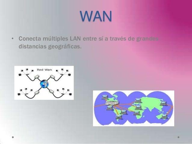 WAN• Conecta múltiples LAN entre sí a través de grandes  distancias geográficas.