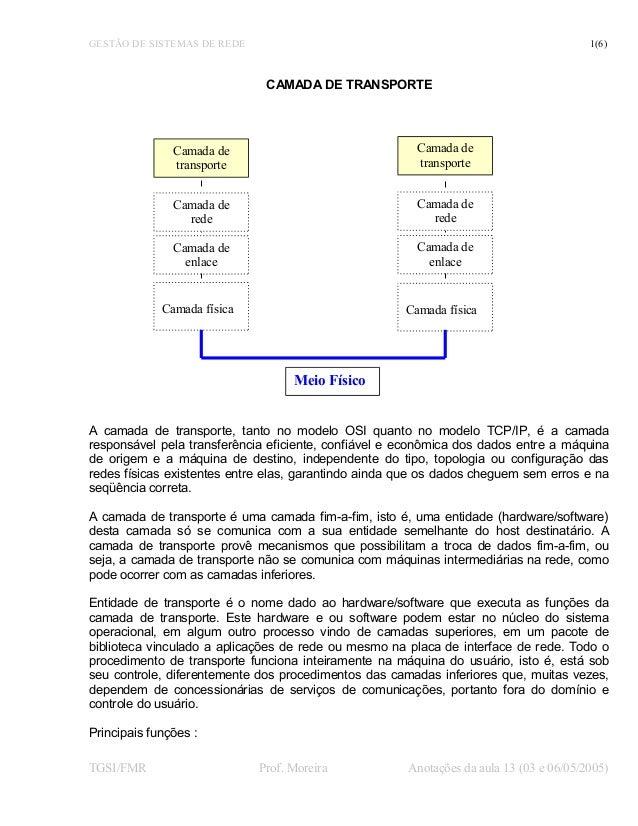 GESTÃO DE SISTEMAS DE REDE 1(6) CAMADA DE TRANSPORTE A camada de transporte, tanto no modelo OSI quanto no modelo TCP/IP, ...