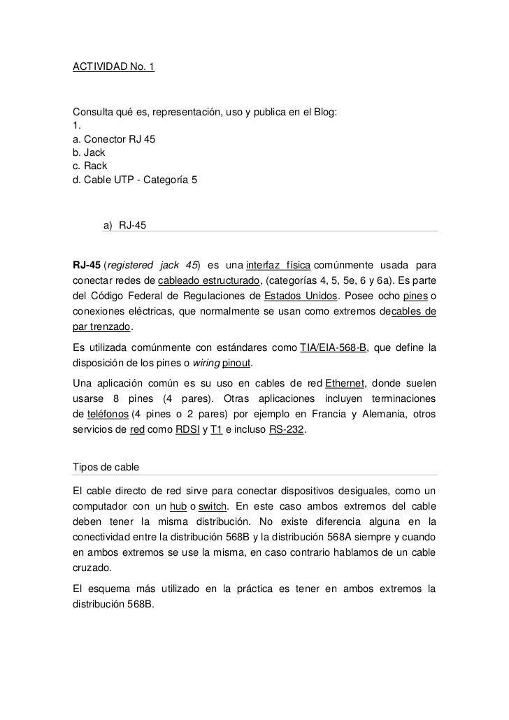 ACTIVIDAD No. 1<br />Consulta qué es, representación, uso y publica en el Blog:1.a. Conector RJ 45b. Jackc. Rackd. Cable U...