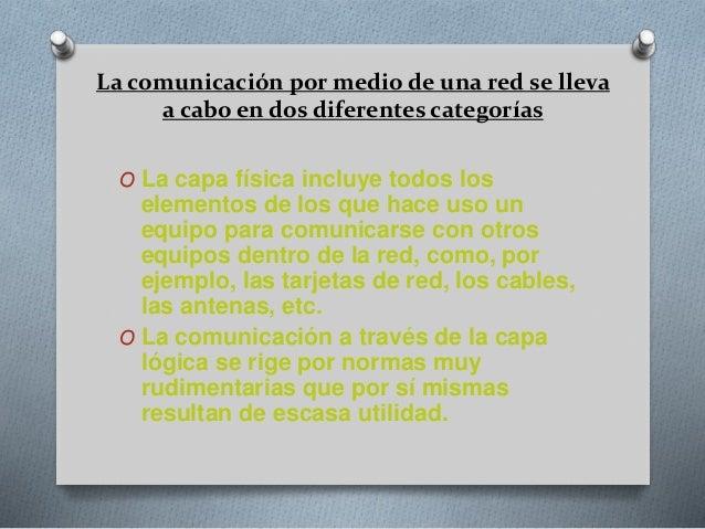 La comunicación por medio de una red se lleva a cabo en dos diferentes categorías O La capa física incluye todos los eleme...
