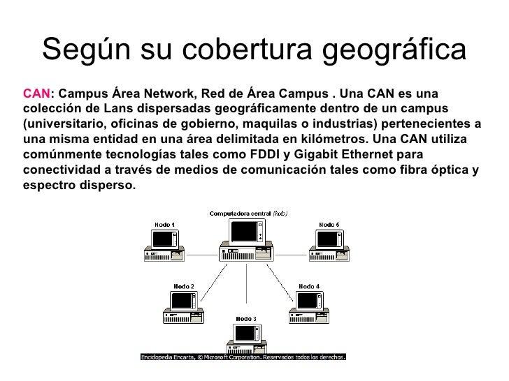 Según su cobertura geográfica  CAN : Campus Área Network, Red de Área Campus . Una CAN es una colección de Lans dispersad...