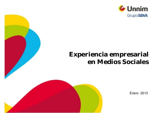 Experiencia empresarial     en Medios Sociales                 Enero 2013