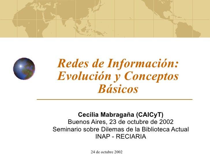 Redes de Información: Evolución y Conceptos Básicos Cecilia Mabragaña (CAICyT) Buenos Aires, 23 de octubre de 2002 Seminar...
