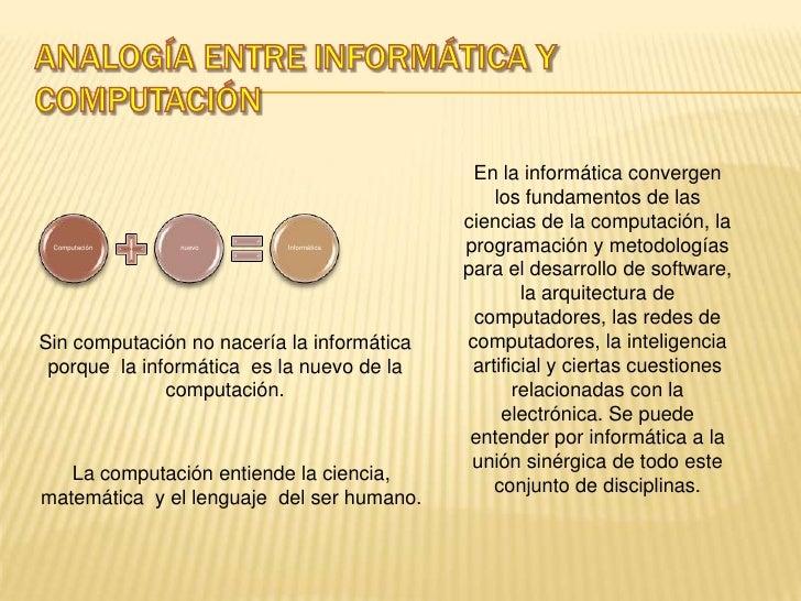 Analogía entre informática y computación<br />En la informática convergen los fundamentos de las ciencias de la computació...