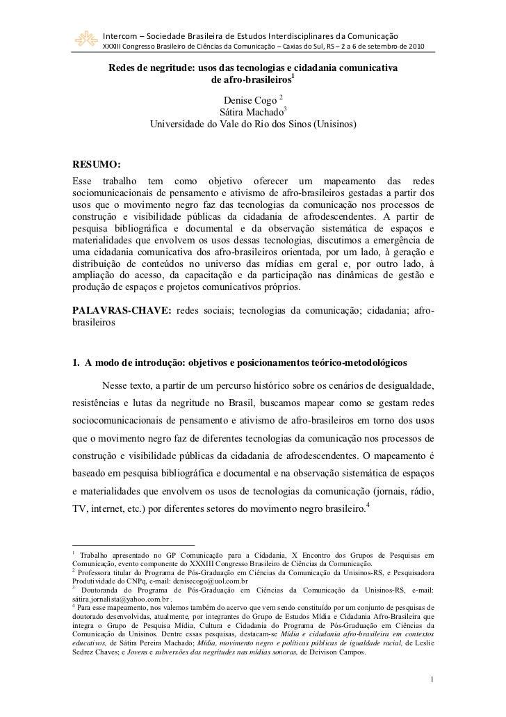 Intercom–SociedadeBrasileiradeEstudosInterdisciplinaresdaComunicação         XXXIIICongressoBrasileirodeCiênc...