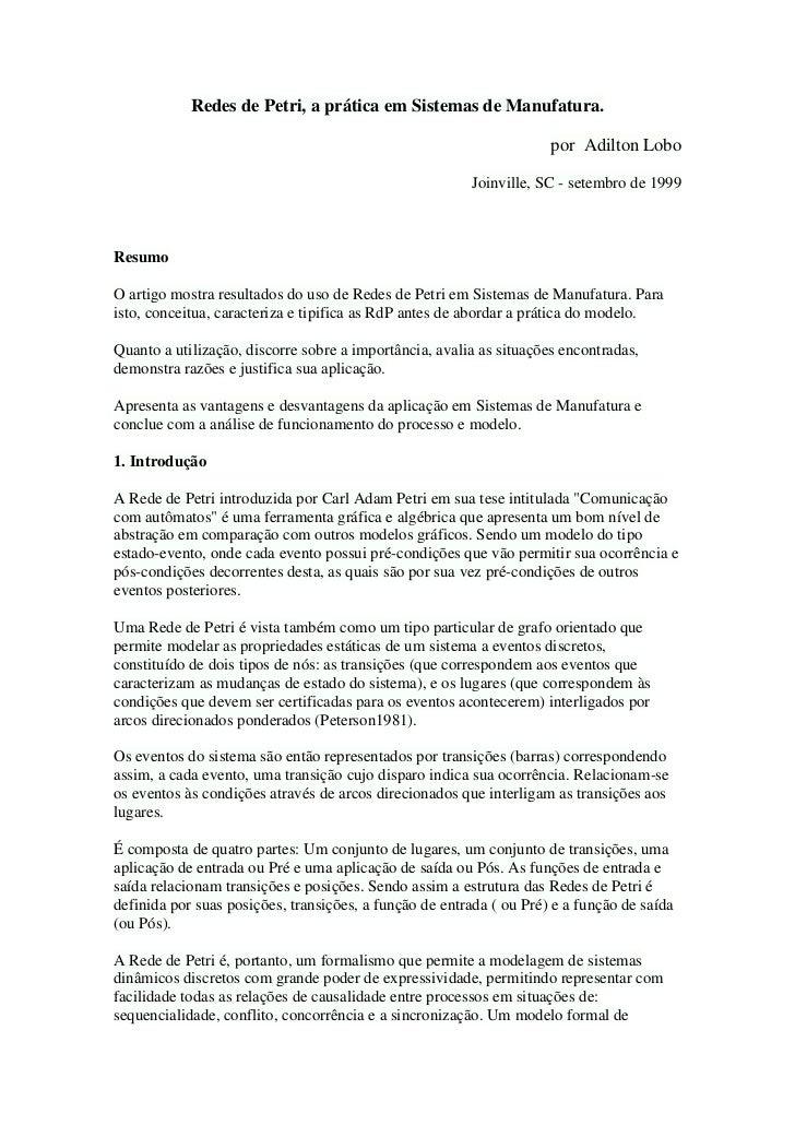 Redes de Petri, a prática em Sistemas de Manufatura.                                                                     p...