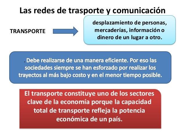 Las redes de trasporte y comunicación TRANSPORTE desplazamiento de personas, mercaderías, información o dinero de un lugar...