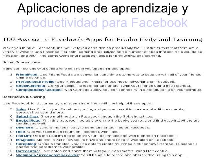 Aplicaciones de aprendizaje y  productividad para  Facebook