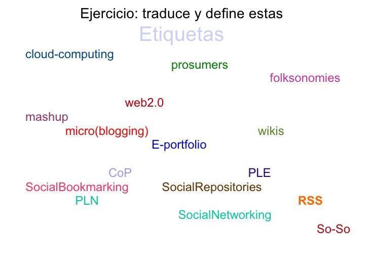 Ejercicio: traduce y define estas   Etiquetas   <ul><li>cloud-computing   prosumers </li></ul><ul><li>folksonomies  </li><...