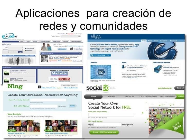 Aplicaciones  para creación de redes y comunidades