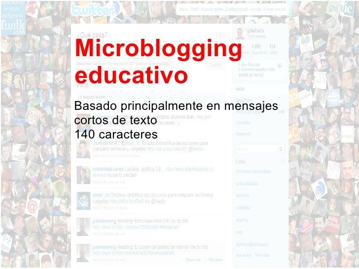 Microblogging educativo Basado principalmente en mensajes  cortos de texto 140 caracteres