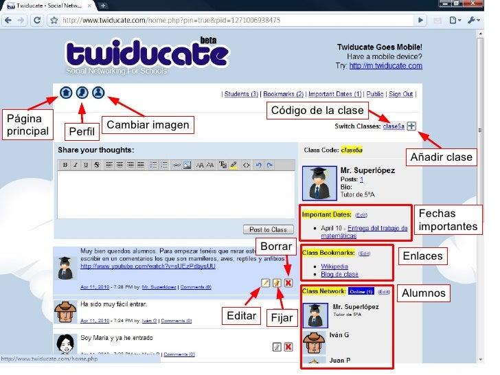 Alumnos Fechas importantes Página principal Enlaces Perfil Cambiar imagen Añadir clase Editar Fijar Borrar Código de la cl...
