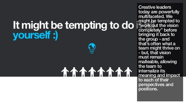 """It might be tempting to do it allyourself :)Creative leaderstoday are powerfullymultifaceted. Wemight be tempted to""""work o..."""