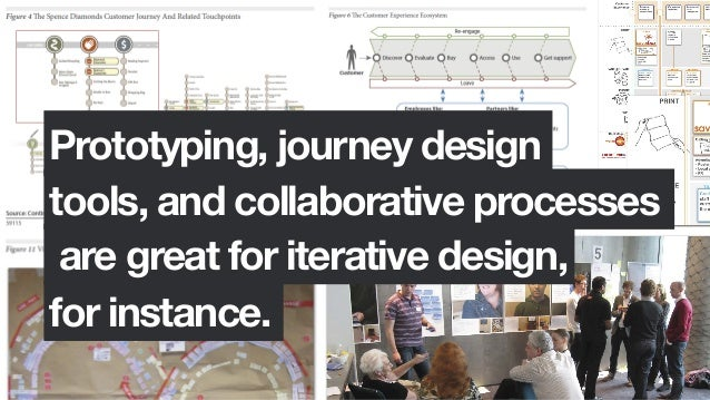 Prototyping, journey designtools, and collaborative processesare great for iterative design,for instance.