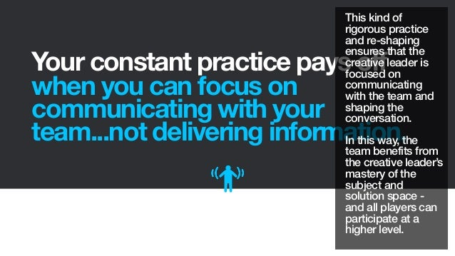 Your constant practice pays offwhen you can focus oncommunicating with yourteam...not delivering information.This kind ofr...