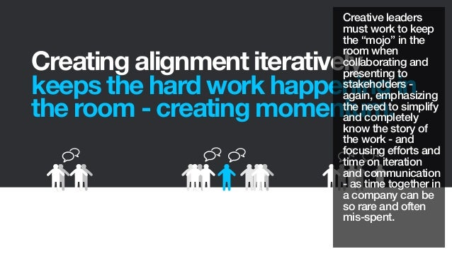 Creating alignment iterativelykeeps the hard work happening inthe room - creating momentum.Creative leadersmust work to ke...