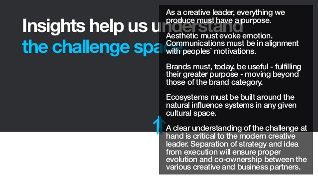 Insights help us understandthe challenge space.As a creative leader, everything weproduce must have a purpose.Aesthetic mu...