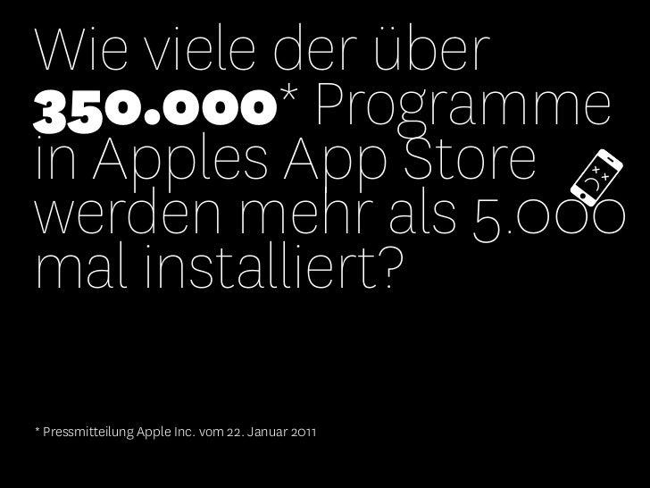 Wie viele der über350.000* Programmein Apples App Storewerden mehr als 5.000mal installiert?* Pressmitteilung Apple Inc. v...