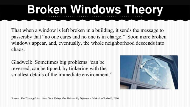 broken window theory essay Read this essay on broken windows theory come browse our large digital warehouse of free sample essays get the knowledge you need in order to pass your classes and more.