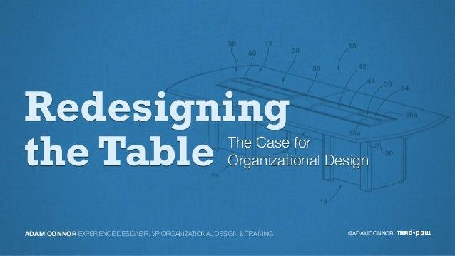 Redesigning the Table The Case for Organizational Design @ADAMCONNORADAM CONNOR EXPERIENCE DESIGNER, VP ORGANIZATIONAL DES...