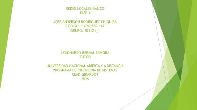 REDES LOCALES BASICO FASE 1 JOSE ANDERSON RODRIGUEZ CHIQUIZA CODIGO: 1.070.589.147 GRUPO: 301121_1 LENONARDO BERNAL ZAMORA...