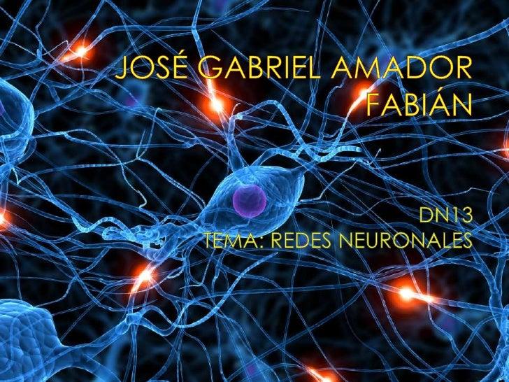 JOSÉ GABRIEL AMADOR FABIÁN <br />DN13<br />TEMA: REDES NEURONALES<br />