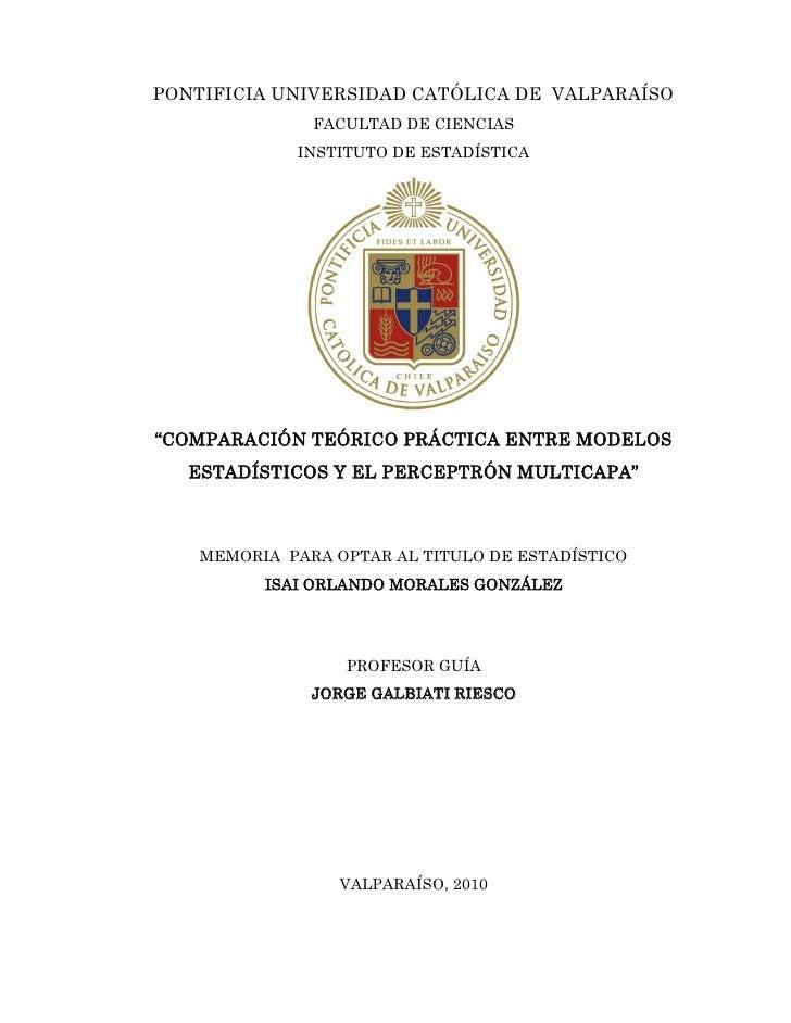 PONTIFICIA UNIVERSIDAD CATÓLICA DE VALPARAÍSO                FACULTAD DE CIENCIAS              INSTITUTO DE ESTADÍSTICA   ...