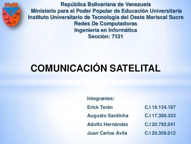 República Bolivariana de Venezuela Ministerio para el Poder Popular de Educación Universitaria Instituto Universitario de ...