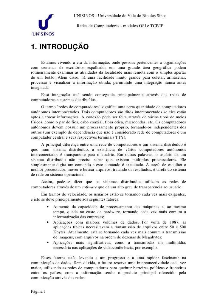 UNISINOS - Universidade do Vale do Rio dos Sinos                             Redes de Computadores - modelos OSI e TCP/IP ...