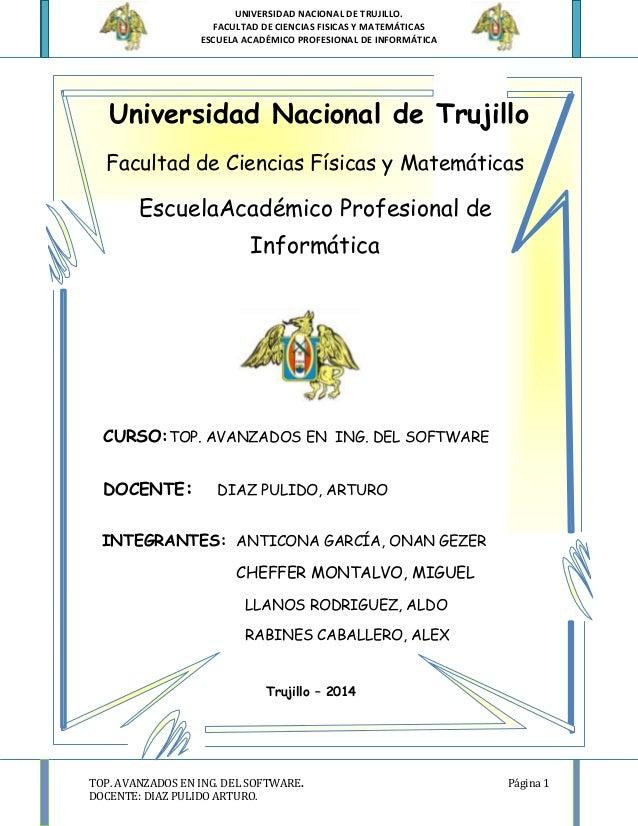UNIVERSIDAD NACIONAL DE TRUJILLO. FACULTAD DE CIENCIAS FISICAS Y MATEMÁTICAS ESCUELA ACADÉMICO PROFESIONAL DE INFORMÁTICA ...