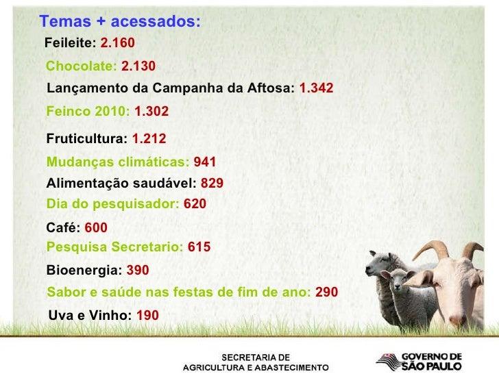 Temas + acessados: Feileite:   2.160   Lançamento da Campanha da Aftosa:  1.342 Feinco 2010:  1.302 Mudanças climáticas : ...